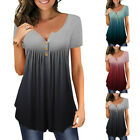 Women Summer Short Sleeve Tunic T Shirt V Neck Gradient Loose Casual Tops Blouse