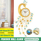 Wide Large Iridescent Peacock Wall Clock Colorful Gems Train Art Aluminum Plated