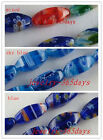 50pcs Millefiori Glass Rotational Mixed Spacers 6x12mm 3colors-1 P55-P57