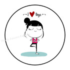 """30 I LOVE YOGA ENVELOPE SEALS LABELS STICKERS PARTY FAVORS 1.5"""" ROUND"""