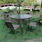 Garden Table And Chairs Set Outdoor Patio Glass Table Parasol Base 4/6 Seater