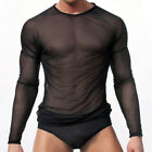 Male See Through Shirts Long Sleeve Slim Fit T-shirt Mesh Clubwear Tops Pullover