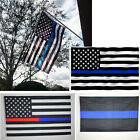 3x 5 Ft Thin Blue & Red Line Police & Fire Respect & Honor Law Enforcement Flag