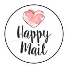 "30 HAPPY MAIL HEART ENVELOPE SEALS LABELS PARTY FAVORS STICKERS 1.5"" ROUND"