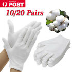 10/20 Pairs White Cotton Gloves Work Thin Soft Hands Protector Costume Jewellery