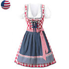 US STOCK Red Dirndl Dress Costume Womens Traditional Oktoberfest Maid Outfit