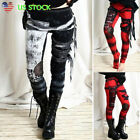 Halloween Women Steampunk Gothic Leggings Skinny Cosplay Party Pants Trousers US