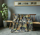 "BLACK Camouflage & Natural Woods Luxury Twin Fleece CASHMERE Blanket 60"" x 80"""