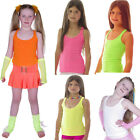 NEON TUTU STRAPPY SLEEVELESS VEST TOP 80'S FANCY DRESS PARTY GIRLS AGE 4-12