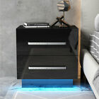High Gloss Nightstand w/LED RGB Light 2 Drawers Modern Bedside End Table Bedroom