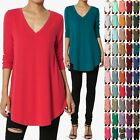 TheMogan S~XL Essential 3/4 Sleeve V-Neck Draped Jersey Knit Rounded Hem Top