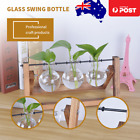 Wooden Stand Hanging Glass Terrarium Container Hydroponic Plant Vase Home Decor