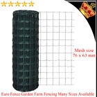 Euro Fence Garden Farm Fencing Steel wire PVC coated 76x63mm Mesh Size Selectab
