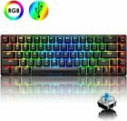 Wired Mechanical Gaming Keyboard RGB LED Backlit 68 Keys for Gamers and Typists