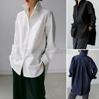 Womens Casual Baggy Long Sleeve Shirt Solid Button Down Office Wear Tops Blouse