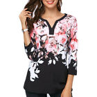 Womens Fall 3/4 Sleeve Floral V Neck T-Shirt Casual Loose Blouse Tunic Top Plus