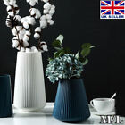 1x Plastic flower Vase White blue Imitation Ceramic Flower Pot Flower Basket UK