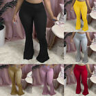 Fashion Women Slim High Waist Solid Color Pants Casual Tight Flared Trousers