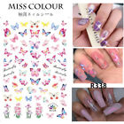 🦋 Butterfly Nail Stickers Waterproof Nail Art Design Diy Decal Pink Flower Ca