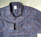 Brooks Brothers Mens L Navy Blue Black Checkered Plaid Button Down Up Shirt