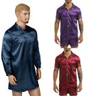 Mens Silk Satin Pajama Long Sleeve Button Sleepwear Pullover Homewear Nightshirt