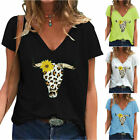 Women Leopard Cow Print T-Shirt Top Short Sleeve Casual Loose V-Neck Blouse Tee