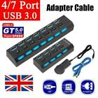 4/7 Port Powered USB HUB 3.0 High Speed USB Splitter Extension For PC Laptop UK