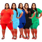 Plus Size Women V Neck Short Sleeve Solid Color Casual Sports Outfits 2pcs
