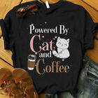 Powered By Cat And Coffee T-shirt, Tee Shirt, Cat and Coffee Lover, Gift T-Shirt
