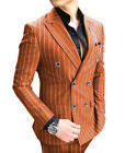 Mens Suit 2Piece Business Striped Double Breasted Jacket Prom Tuxedo Blazer Pant