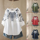 Women Cotton Vintage Embroidery Summer Top T-Shirt Loose Round Neck Blouse Shirt