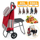 Foldable Shopping Cart Trolley Pack with Chair Folding Grocery