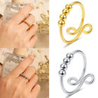 Fidget Rings For Anxiety Women Adjustable Simple Beads Rings Spinner Band Rings