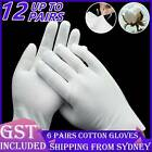 6 Pairs White Cotton Gloves Costume Jewellery Hands Protector Handling Work Aus
