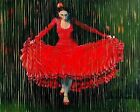 Woman In Red Art Poster Print New