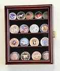 16-20 Military Challenge Coin Display Case Holder Wall Rack Box - Lockable -USA