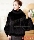 100% Real Genuine Knitted Mink Fur Coat Outcoat leather jacket brown outwear