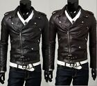 NWT Men's Slim Top Designed Sexy PU Leather Short Jacket E420 2color 4 size