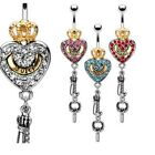 GEM PAVED HEART CROWN KEY BELLY NAVEL RING QUEEN CZ DANGLE BUTTON PIERCING B182