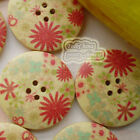 Garden Cosmos 30mm Wood Buttons Sewing Scarpbooking Craft A015