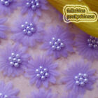 Purple Organza Flower With Cluster Beads Sewing Scrapbooking Appliques Trim JM7B