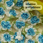 Blue Polyester Duplex Flower Sewing Scrapbooking Appliques Trim Craft JM2065