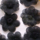Black Organza Flowers 45mm Appliques Sewing Scrapbooking Trim Craft JMOB
