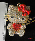 "EXTREAMLY BEAUTIFUL LARGE SWAROVSKI  CRYSTAL  ""HELLO KITTY  NECKLACE-MINT"