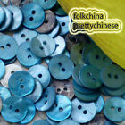 Blue Round 11mm Mother Of Shell Buttons Sewing Scrapbooking Beads Craft