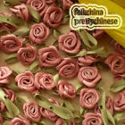 Rosybrown Polyester Ribbon Roses Leaf 15mm Appliques Scrapbooking Sewing JMPSL06