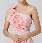 New Pleated One Shoulder Rosace Party Prom Formal Bridesmaid Dress Evening Gown