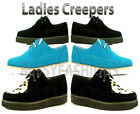 Women Black Faux Suede Brothel Creepers Flat Ladies Lace Up Shoe Size 34 5 6 7 8