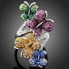 Swarovski Crystal 4 Multi-tone Butterflies Gold GP Ring