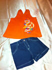 Girls Kid Headquarters 2-Piece Orange Top w/ Denim Shorts Short Set Size 3T